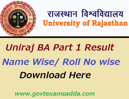Uniraj BA Part 1 Result 2019