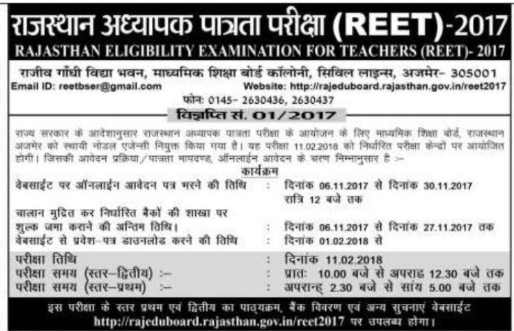 REET Application Form 2017