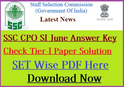 SSC CPO Official Answer Key 2018