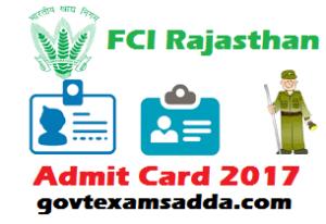 Rajasthan FCI Admit Card