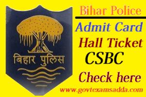 Bihar Police Constable Admit Card 2017