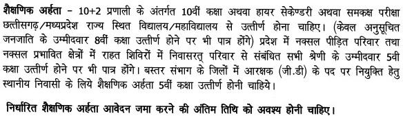 chhattisgarh police eligibility criteria