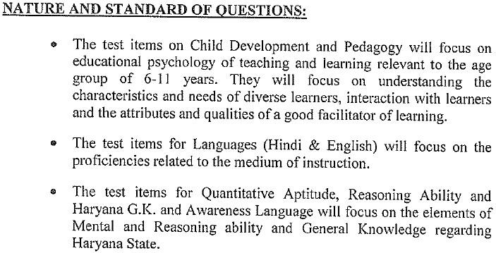 HTET Syllabus 2019 PDF, Haryana TET Level 3 (PGT), 2, 1 Exam Pattern