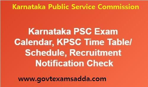 Karnataka PSC Exam Calendar 2018-19