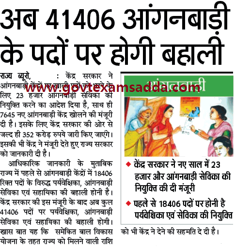 Anganwadi Recruitment 2019-20 Latest Vacancies Notification
