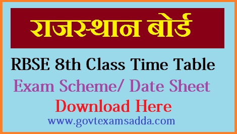 Rbse 8th class time table 2019 rajasthan board 8th time table 2019 malvernweather