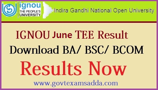 IGNOU June TEE Result 2018