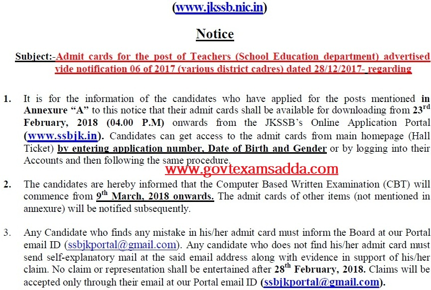 jkssb teacher admit card