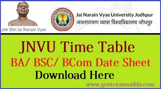 JNVU Time Table 2018