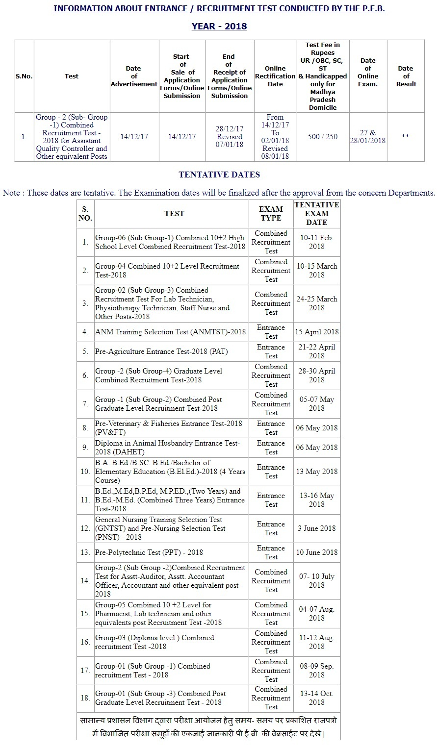 mp vyapam exam calendar 2018