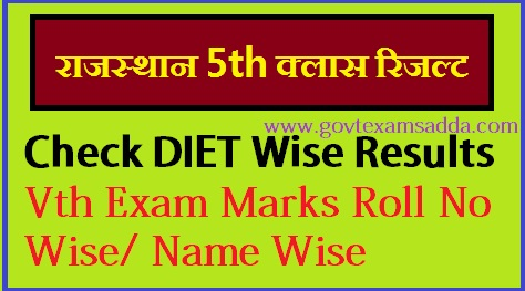 Rajasthan DIET 5th Class Board Result 2019 Roll No  /Name