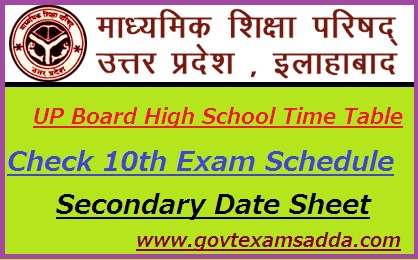 UP Board High School Time Table 2019