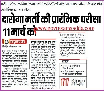 Bihar Police SI Admit Card 2018