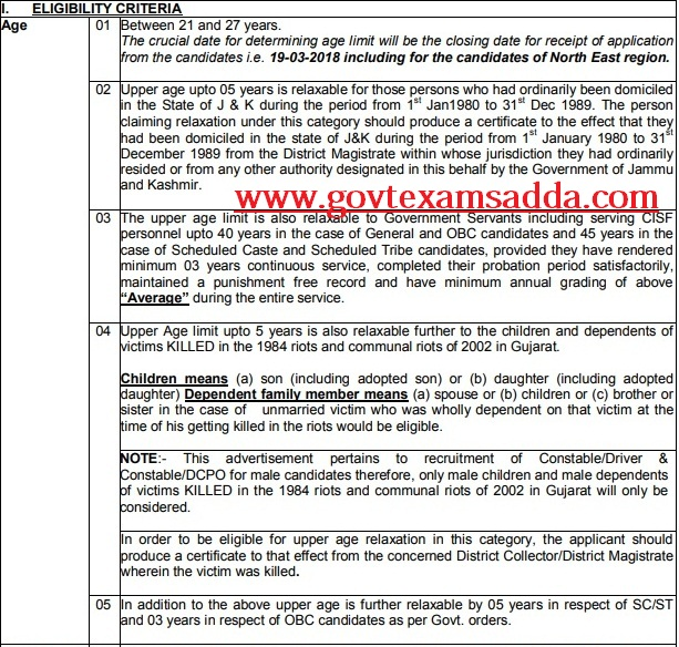 Cisf recruitment 2018 cisf constable driver 447 posts for Motor vehicle service notification