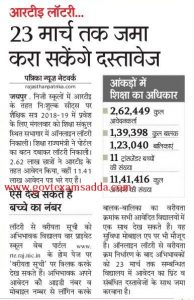 rajasthan rte lottery 2019