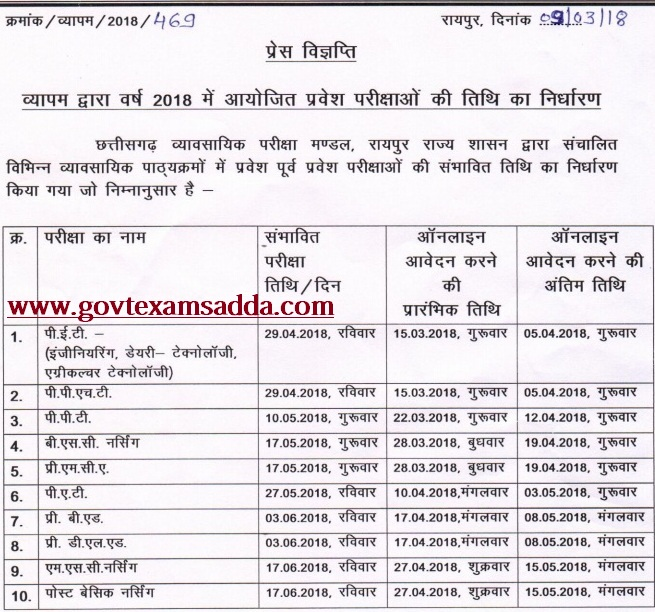 cg vyapam yearly exam time table
