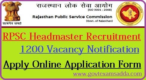 RPSC Headmaster Recruitment 2018