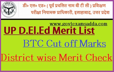 UP D.El.Ed (BTC) Cut Off List 2018 District Wise Merit List for SC/ST/OBC/GEN
