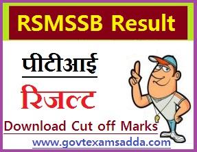 RSMSSB PTI Result 2018