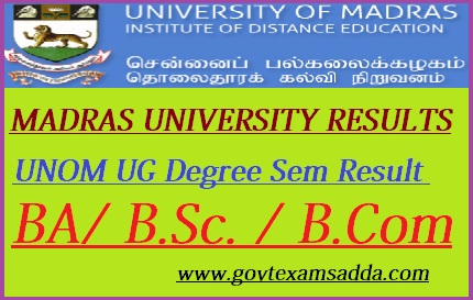 Madras University Result 2019 UNOM UG 2nd 4th 6th Sem Results