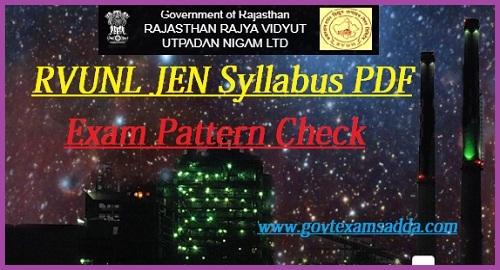 Rajasthan RVUNL JEN Syllabus 2021
