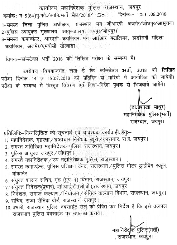 raj police exam date news