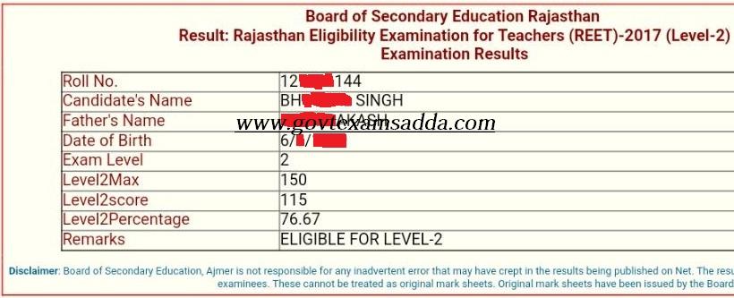 reet level 2 result 2017