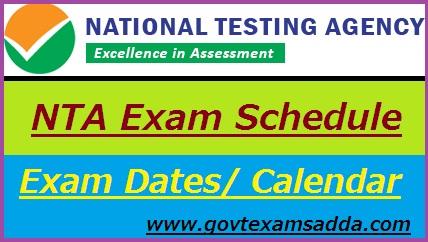 NTA Exam Schedule 2019