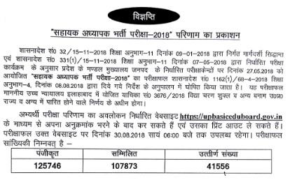 UP Assistant Teacher Result 2018