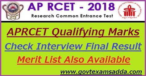 APRCET Qualifying Marks 2018 Result