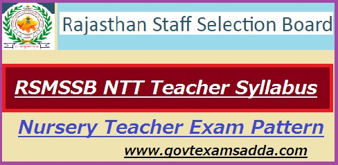 RSMSSB NTT Teacher Syllabus 2019 एनटीटी टीचर