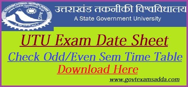 UTU Exam Date Sheet 2019