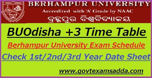 Berhampur University Time Table 2019