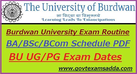 Burdwan University Routine 2019