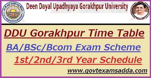 DDU Gorakhpur Time Table 2019