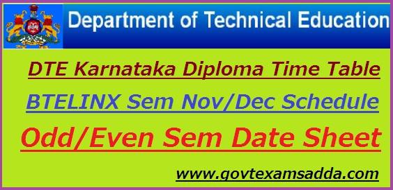 DTE Karnataka Diploma Time Table 2018-19