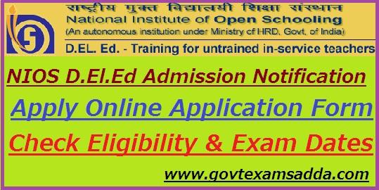 NIOS D.El.Ed Admission Notification 2019-20