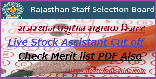 RSMSSB Live Stock Assistant Result 2019