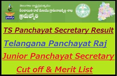 TS Panchayat Secretary Result 2018-19 Cut off Marks Merit List Released