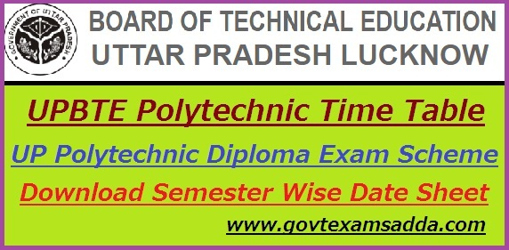 BTEUP Polytechnic Time Table 2018-19 2nd 4th 6th Sem Exam Scheme
