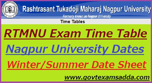 RTMNU Time Table 2019