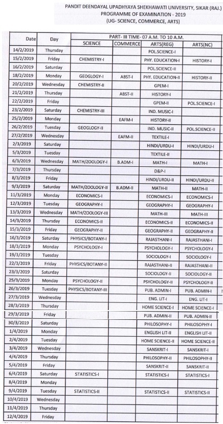 pdusu part 3rd time table 2019