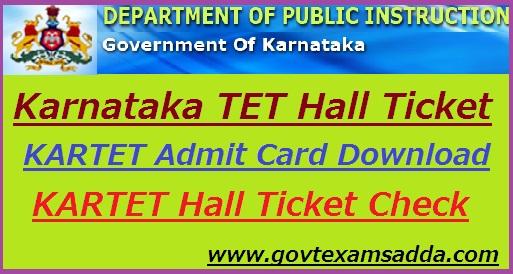 KARTET Hall Ticket 2019 Karnataka TET Admit Card Download