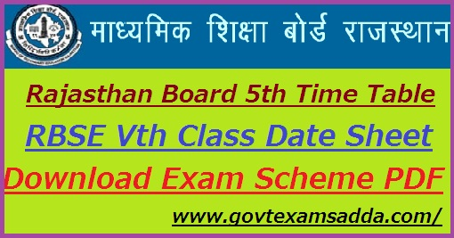 Rajasthan Board 5th Class Time Table 2021