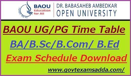 BAOU Time Table 2019