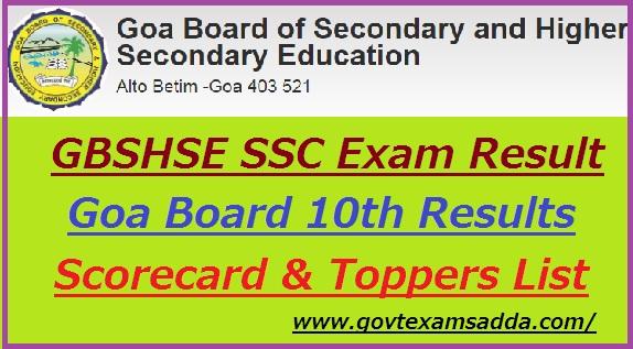 Goa Board 10th Result 2019