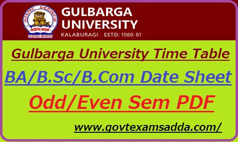 Gulbarga University Time Table 2019