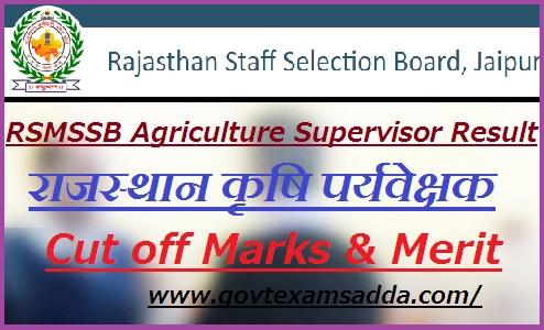 RSMSSB Agriculture Supervisor Result 2019