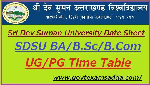 Sri Dev Suman University Date Sheet 2019