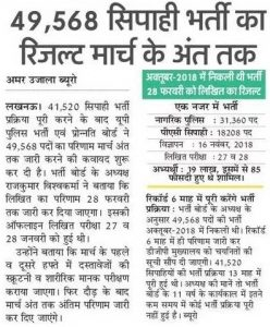 UP Police Result 2019- 49,568 Constable कट ऑफ